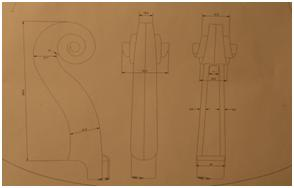 Sketch of a cello's peg box. The top part is called the scroll